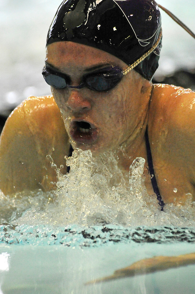 Walt Hester   Trail Gazette<br /> Kate Hewson glides to first place in the 50 yd breast stroke during the Estes Park Sprint Pentathlon on Saturday. Hewson was awarded swimmer of the meet for her performance.