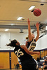 Walt Hester | Trail Gazette<br /> The Pinnacle's Alexus Remirez fouls Estes Park's Alli Smith in the final minute of their tilt on Monday night. Remirez would leave the game with her fifth foul and Smith would sink the freethrow, icing the game for the Ladycats, 47-40