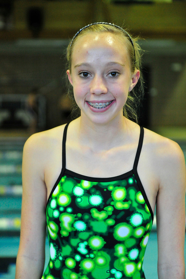 Walt Hester | Trail Gazette<br /> Holli Holmes, freshman, earned Swimmer of the meet honors and helped the Ladycats to victory in the Windsor League Relays last week. The Estes Park girls won three events and posted State-qualifying times in two of those relays.