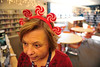 Walt Hester | Trail Gazette<br /> Estes Park Middle School teacher Sue Meadows weres festive headware in the school's library on Wednesday. The school will enjoy a winter festival on Friday afternoon.
