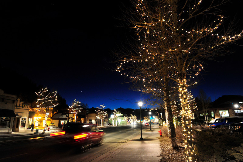 Walt Hester | Trail Gazette<br /> Although the last light of day fades over Estes Park, the holiday lights along Elkhorn Avenue continue to illuminate the town. The lights will remain on through the New Years weekend and beyond.