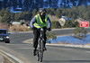 Walt Hester | Trail Gazette<br /> A cyclist pedals his way back toward town along Moraine Avenue on Saturday morning. Though  chilly, most major roads are clear and dry around Estes Park.