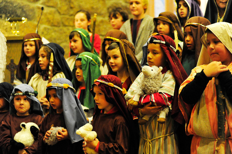 Walt Hester   Trail Gazette<br /> Shepherds stand as quietly as they can during the Christmas Pagent on Sunday. Those who don't get the lead characters are divided between angels and shepherds.