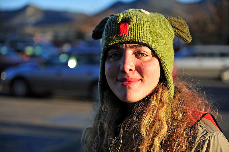 Walt Hester | Trail Gazette<br /> Morgan Barleen has fun with her headware at Upper Stanley Village on Friday. Cold evnings don't damper enthusiasm for some.