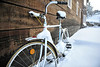 Walt Hester | Trail Gazette<br /> Snow drapes over a neglected bicycle near Saint Vrain Avenue on Thursday. Snow kept temperatures down and added needed snow pack to the mountains last week.