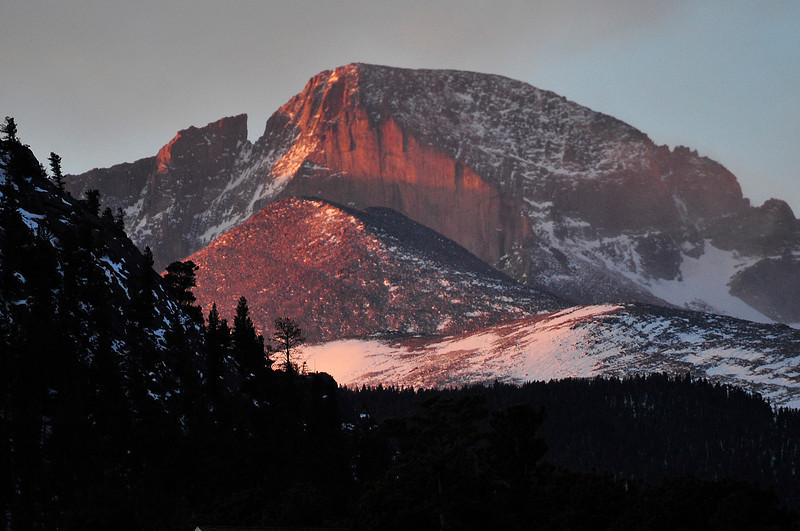 Walt Hester | Trail Gazette<br /> Longs Peak catches the first rays of Wednesday morning. In winter, Longs Peak tends to cast a long shadow over it's neiboring peaks.