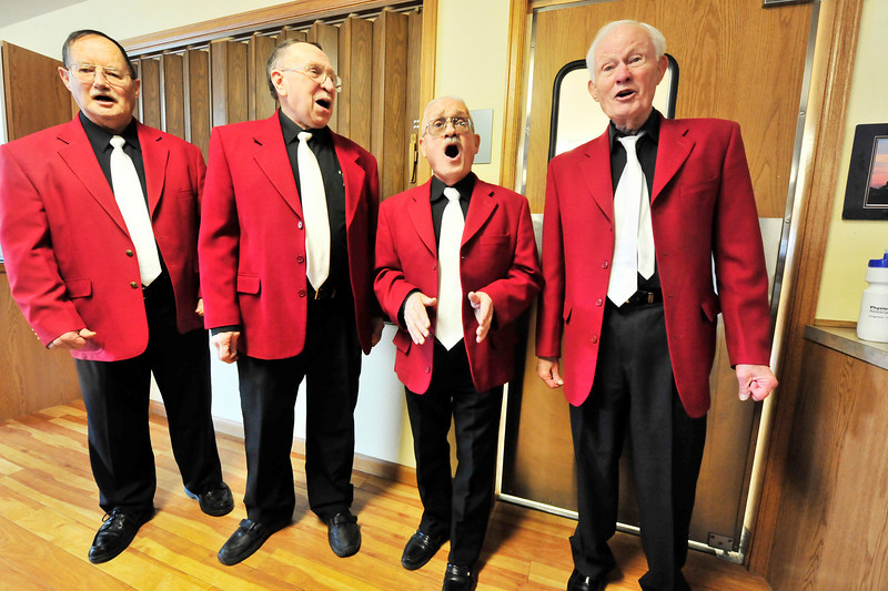 Walt Hester | Trail Gazette<br /> The Senior Moments harmonize at the Estes Park Senior Center on Monday. The quartet consists of Bob Grigsby, Gene Melick, Gerry Swank and Merle Moore.