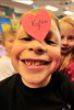 Walt Hester | Trail Gazette<br /> Peyton Wilkerson, 7, wears his heart of his forehead during his class Valintine's Day party at the Estes Park Elementary School on Monday.