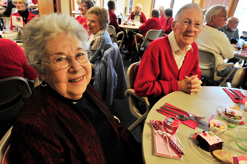 Walt Hester | Trail Gazette<br /> Esther, left, and Prentice Fisher enjoy a Valintines Day lunch together, again. The couple have shared 68 Valintines Days together as a married couple.