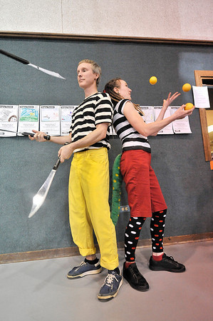 Walt Hester   Trail Gazette<br /> Peter Irish and Ambree Zuba juggle to the delight of the crowd at Imagine This on Saturday. Juggling, music and creativity of all sorts were in abundance at the annual Cultural Arts Council event.
