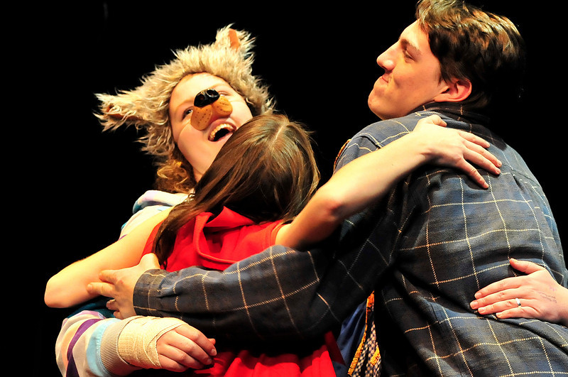Walt Hester | Trail Gazette<br /> The Big Bad Wolf, Red Riding Hood and the Woodsman dance at the rehearsal of the high school production of the Brothers Grimm Spectaculathon. The dinner theater production began Thursday night and runs through Sunday.