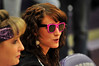 Walt Hester | Trail Gazette<br /> Hannah Schweitzer, 17, sports groovy glasses at Tuesday nights Ladycats basketball game. Schweitzer is one of the teams managers.