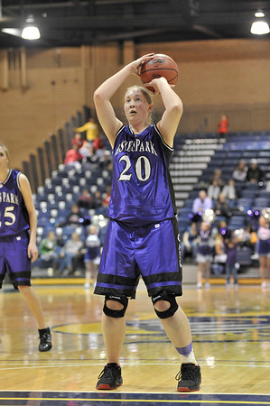 Walt Hester | Trail Gazette<br /> Senior Annika VanderWerfshoots a free throw during last Friday's district championship game in Greeley. VanderWerf has become an important post player for the Ladycats over the course of her senior season.