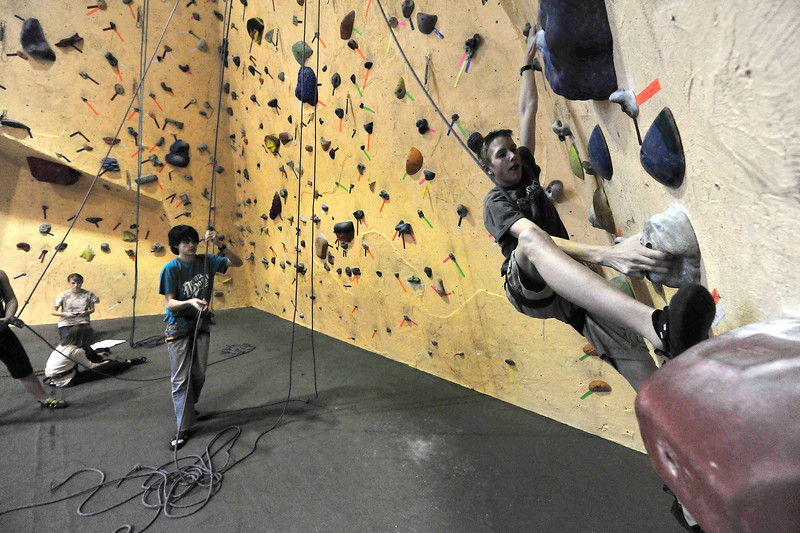 Walt Hester | Trail Gazette<br /> Members of the Estes Park Climbing Team's X-Team warm up before a workout on Monday. The climbing team will host the annual Freezer Burn climbing competition at the Estes Park Mountain Shop on Sunday, March 6.