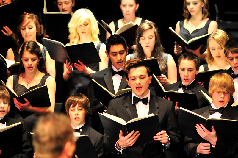 Walt Hester | Trail Gazette<br /> The Estes Park High School Concert Choir performs Carmina Burana at the school's auditorium on Thursday night. The choir put life into the 800-year-old music.