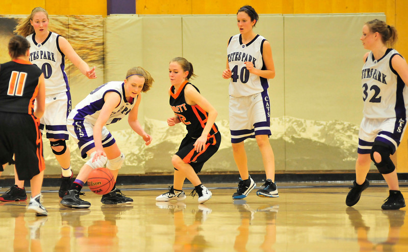 Walt Hester | Trail Gazette<br /> Ladtcats defense takes the ball from Bennett during the first round of the state playoffs last week. The Estes Park girls faced Pagosa Springs on Thursday, check eptrail.com and the Trail-Gazette's Facebook page for results and updates.