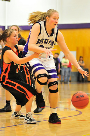 Walt Hester | Trail Gazette<br /> Annika VanderWerf Dominates the paint against Bennett on Friday. The tall senior played only three quarters and contributed eight points for the Ladycats' 55-22first-round victory.