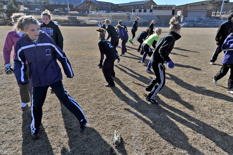 Walt Hester   Trail Gazette<br /> The young Ladycats soccer team warms up with footwork drills on Wednesday. The girls begin regular season play this afternoon at the Colorado Academy Mustang Classic Tournament in Denver.