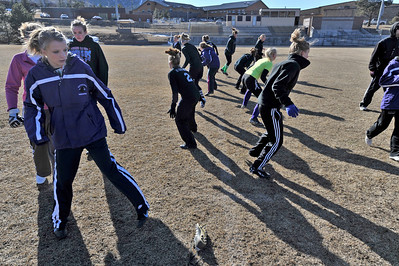 Walt Hester | Trail Gazette The young Ladycats soccer team warms up with footwork drills on Wednesday. The girls begin regular season play this afternoon at the Colorado Academy Mustang Classic Tournament in Denver.