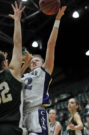 Walt Hester | Trail Gazette<br /> Kyra Stark battles for points over Machebeuf on Saturday. Stark spent most of the season guiding the Ladycats offense, leading her team in assists.