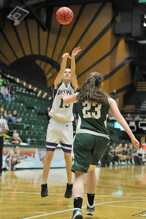 Walt Hester | Trail Gazette<br /> Torrey Slininger fires from the elbow against Machebeuf on Saturday. Slininger regularly stepped up when the Ladycats needed her most, scoring, rebounding and defending.