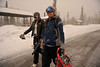 Walt Hester   Trail Gazette<br /> Joe Tonsager and Kristen Shoup, both of Denver, head to their car through a quick-hitting snow storm at the Glacier Gorge trailhead on Sunday. Weather went from warm and sunny on Saturday to cold and snowy on Sunday.