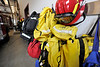 Walt Hester | Trail Gazette<br /> Wildland fire gear hangs in the Dannels Fire Station on Wednesday. Crews from Estes Park returned from helping fight the Crystal Fire on Tuesday.