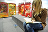 "Walt Hester | Trail Gazette<br /> Tori Armitage enjoys her book, ""Flushed,"" in the Estes Park Elementary School Library on Friday."