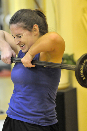 Walt Hester | Trail-Gazette<br /> Whitney Taylor pushes through the pain toward the women's perscribed high score on Saturday. Taylor scored 232, a new gym record.