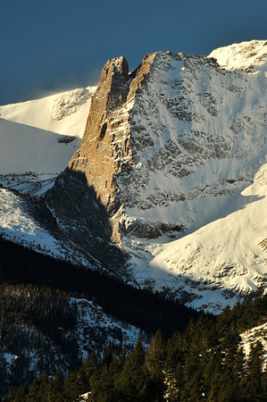 Walt Hester | Trail-Gazette<br /> New snow clings to the north side of Notchtop on Tuesday. More snow and winds are making the Colorado snowpack dangerous with a member of the Wolf Creek ski patrol dying in a snowslide, the first of such death of the season.