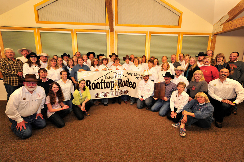Walt Hester | Trail-Gazette<br /> The Rooftop Rodeo Committee celebrates the awarding of the Best Mid-Sized Rodeo by the Mountain States Rodeo Circuit. The Rooftop Rodeo has just this year been elevated from the small to mid-size rodeo division, and still brought home the hardware, held by Bo Winslow, front row, third from the right.