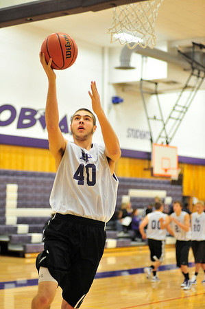 Walt Hester | Trail-Gazette<br /> Senior Sam KellerTwigg warms up with the Bobcats before their scrimmage on Saturday. The Estes Park coaches invited bigger school teams to Estes to give the Bobcats and Ladycats a taste of competition before the official season begins in December.