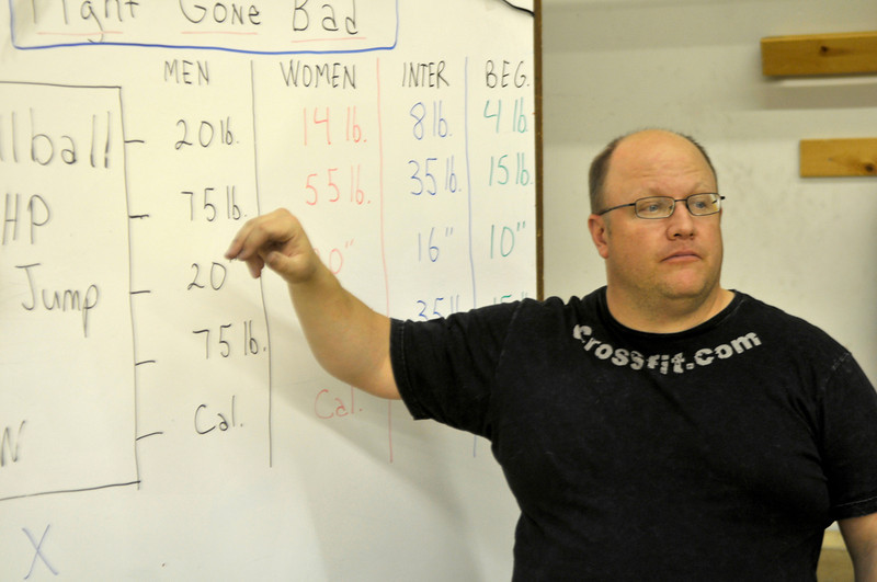 Walt Hester | Trail-Gazette<br /> Eric Adams, owner of the CrossFit Estes Park, explains the basic workout and the scales. CrossFit workouts are scalable depending on the participent's sex, age or experience.
