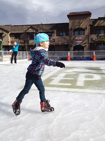 Nina Faye Pabst, 5, of Estes Park enjoys the first day of the ice rink.