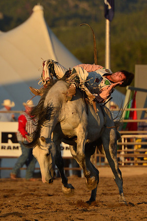 Caleb Bennett hangs on for his reride on Tuesday. Bennett scored a 77, best of the night, as a result of taking a second ride.