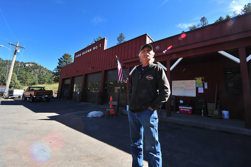 John Marshall stands in font of the new Glen Haven fire house on Wednesday. Marshall had been a volunteer when the fire department was in their old building, which was washed away in the September flood.