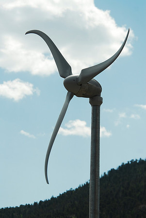 Photo by Walt Hester<br /> A windmill stands against the blue morning sky in Estes Park.