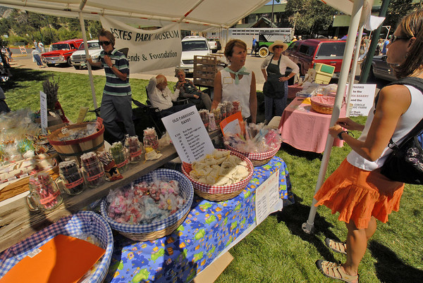 Photo by Walt Hester<br /> The Estes Park Museum shows and sells old-fashioned candy to visitors to the Heritage Festival.