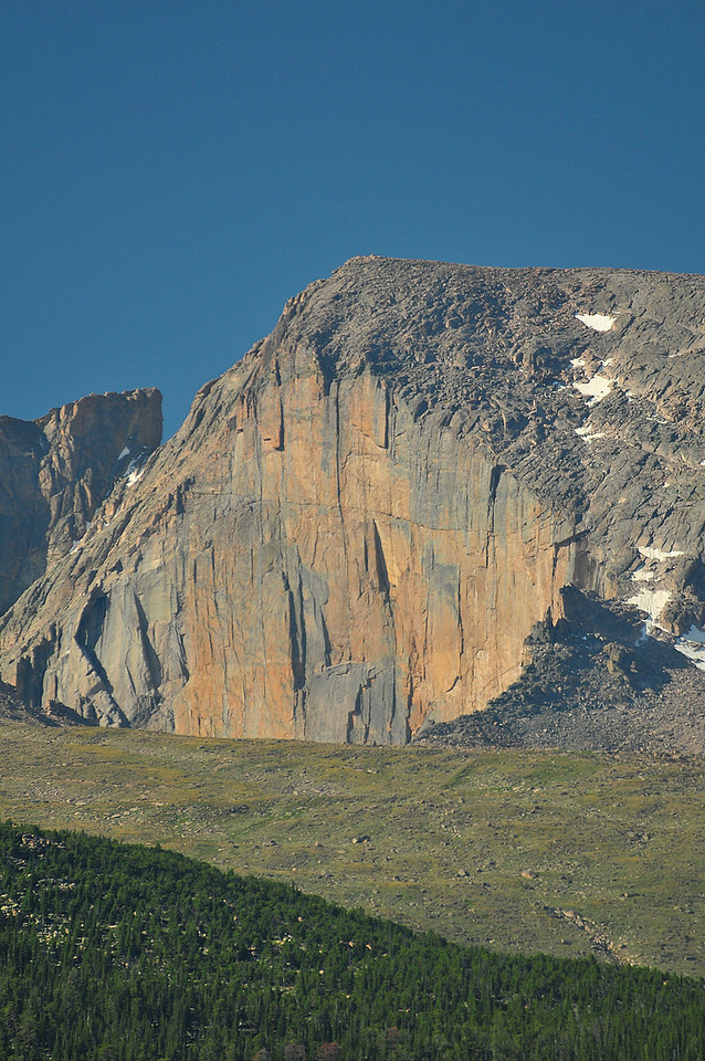 Photo by Walt Hester<br /> Longs Peak stands out against the summer sky on Wednesday.