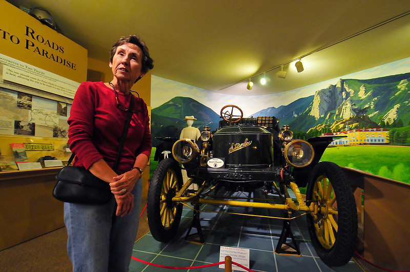 Photo by Walt Hester<br /> Gail Byrd of New Orleans, enjoys an afternoon at the Estes Park History Museum on Tuesday.
