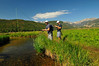 Photo by Walt Hester<br /> Josh Hahn and Andrew Schiel, both of Denver, cast lines into the Big Thompson River in Moraine Park on Wednesday. As the temperatures inch up, more visitors flock to the higher elevations of Rocky Mountain National Park.