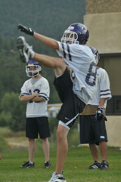 Photo by Walt Hester<br /> Keller Twigg booms a punt during practice on Tuesday.
