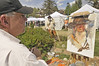 Photo by Walt Hester NOTE THIS IS THE LEAD PHOTO<br /> Painter George Sanderson creates a portrait of local mountain man Rick Mumford Sunday morning at the Heritage Festival.