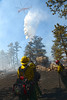 Walt Hester | Trail Gazette<br /> Firefighters from Black Hills National Forest take a moment to watch a type-one helicopter drop thousands of gallons of water on Saturday's Woodland Heights Fire. The tragic High Park Fire made getting firefighters and air support to Estes Park much easier than it might otherwise have been.
