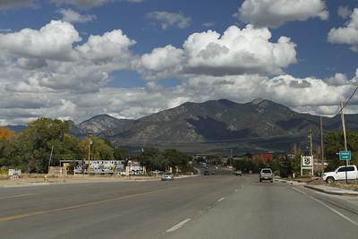 In Taos looking towards the Sangre de Cristo mountain range.