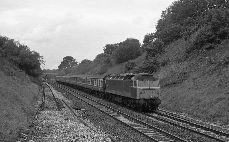 47488, 10.10 Penzance-Leeds, Whiteball Tunnel, 30-8-86.