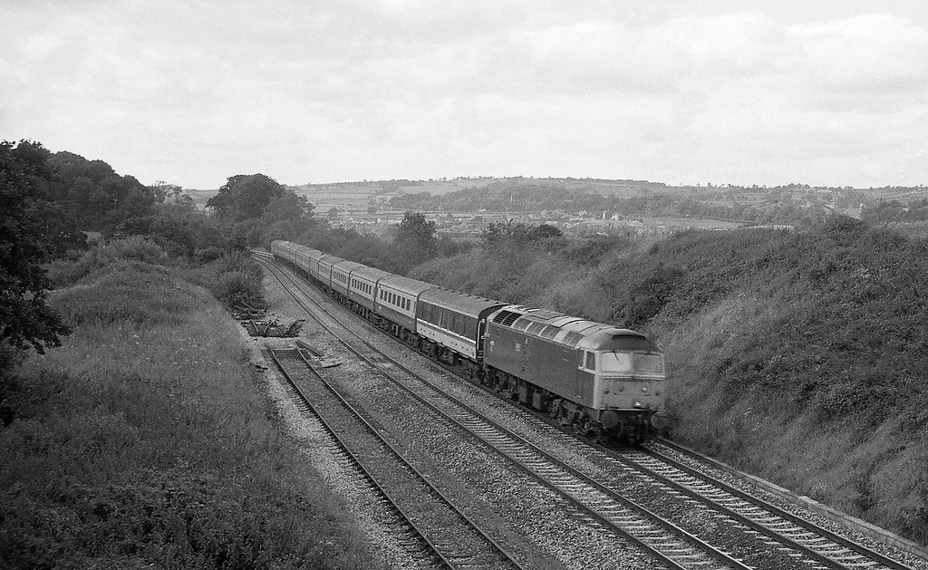47513, 10.10 Newquay-Manchester Piccadilly, Whiteball, 16-6-86.