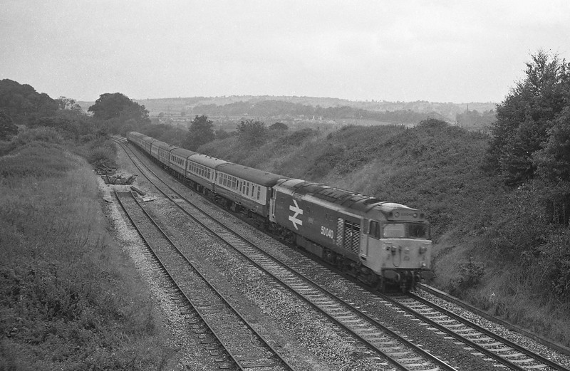 50040, 09.12 Penzance-London Paddington (late), Whiteball, 23-8-86.