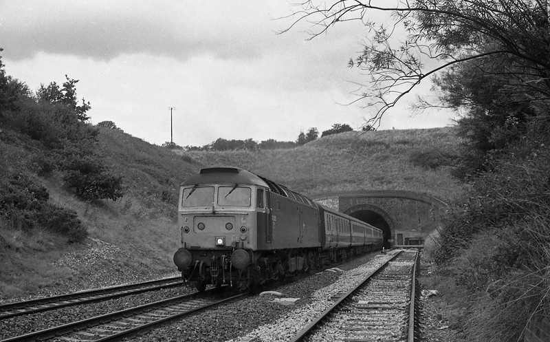 47523, 09.20 Liverpool Lime Street-Penzance, Whiteball Tunnel, 30-8-86.