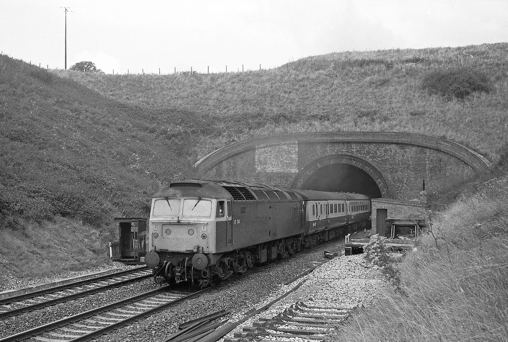 47534, 08.29 Nottingham-Paignton, Whiteball Tunnel, 30-8-86 (late). 50007, 09.12 Penzance-London Paddington, Whiteball Tunnel, 30-8-86.